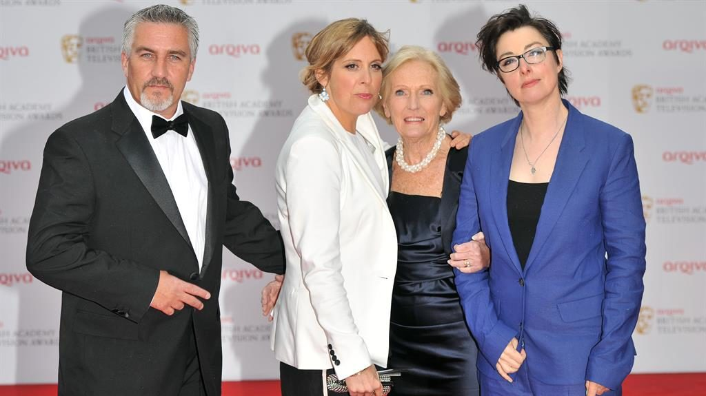 Split: Paul, pictured here with Mel, Mary and Sue, was the only one to stay with GBBO when it switched channels PICTURE: EPA/REX