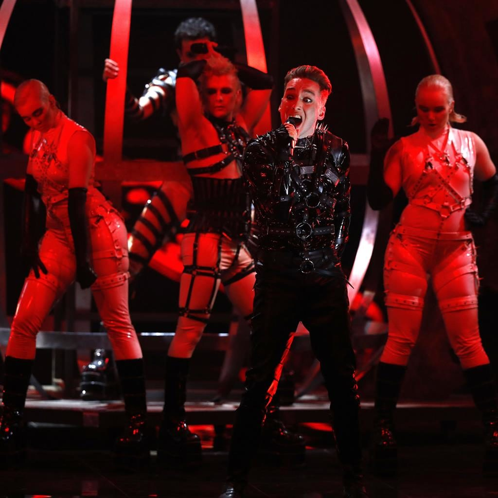 High camp: Hatari from Iceland belt out their number at last year's Eurovision Song Contest grand final in Tel Aviv, Israel PICTURE: AP