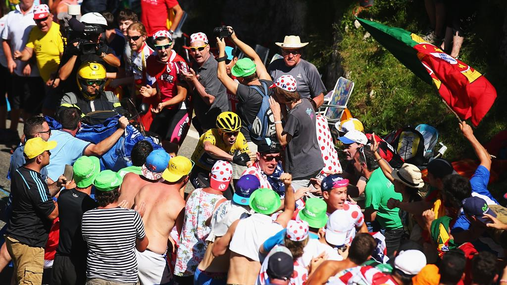 Peak practice: Froome rides through a wall of fans on a mountainous stage ten of the 2015 Tour PICTURE: GETTY