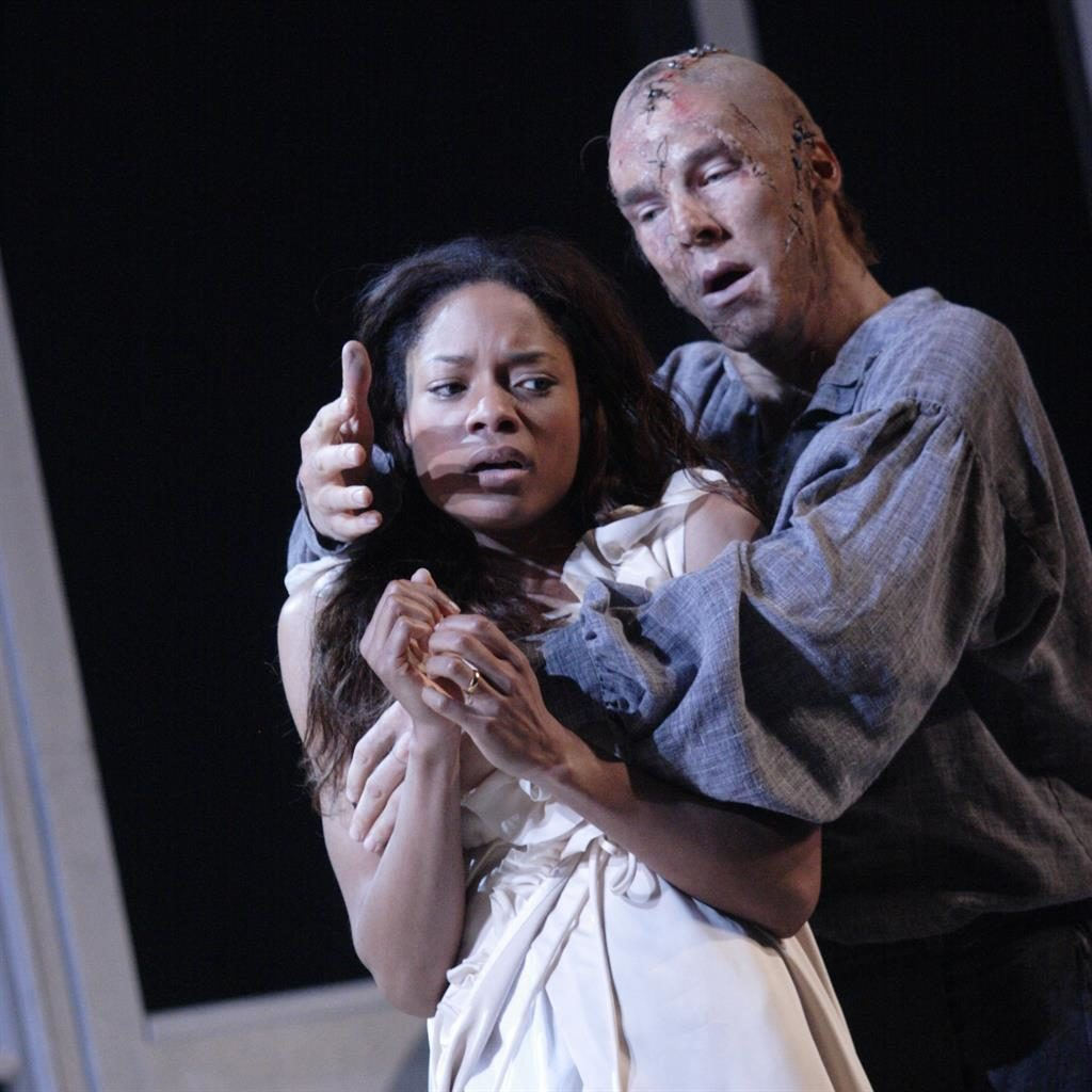 Menace: Naomie Harris with Cumberbatch as the Creature and (below) as Victor PICTURES: CATHERINE ASHMORE