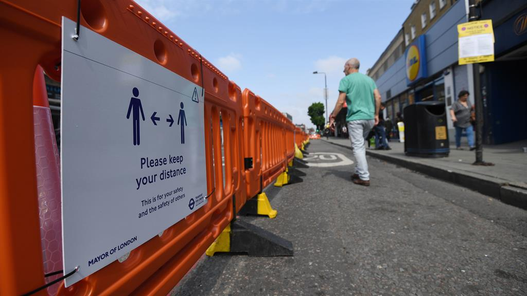Space to breathe: Pavement area is widened in Camden high street to help pedestrians meet social distancing guidelines PICTURE: PA