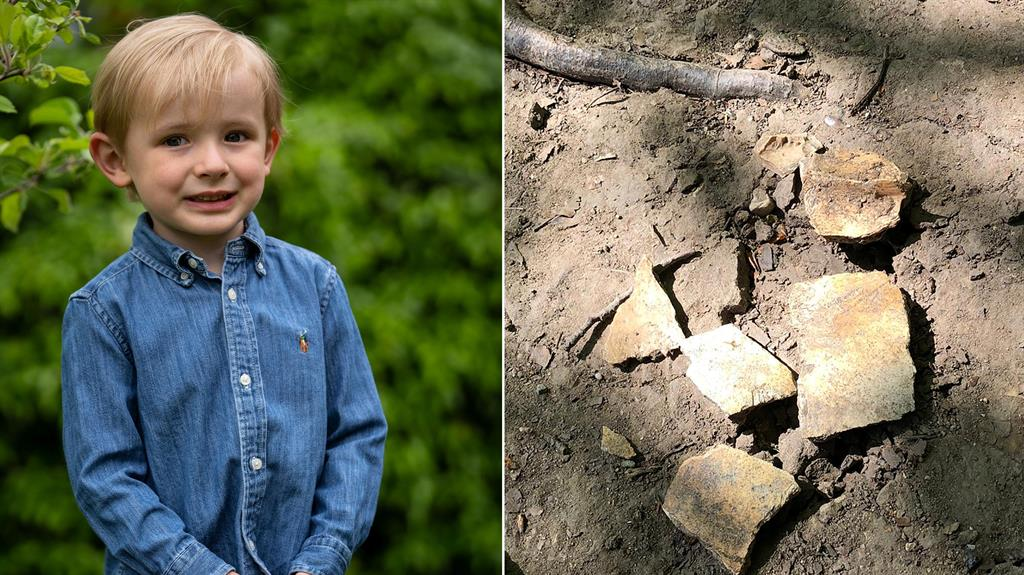 Mega find: Charlie Ryan-Williams, 3, found some human bones while out walking with his dad