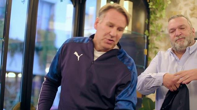 Argument: Things got heated between Merson and Ruddock (right)