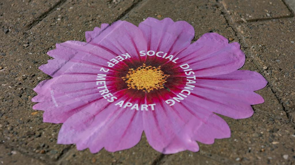 Floral messaging: Social distancing floor markings on the Parade, Leamington Spa PICTURE: SWNS