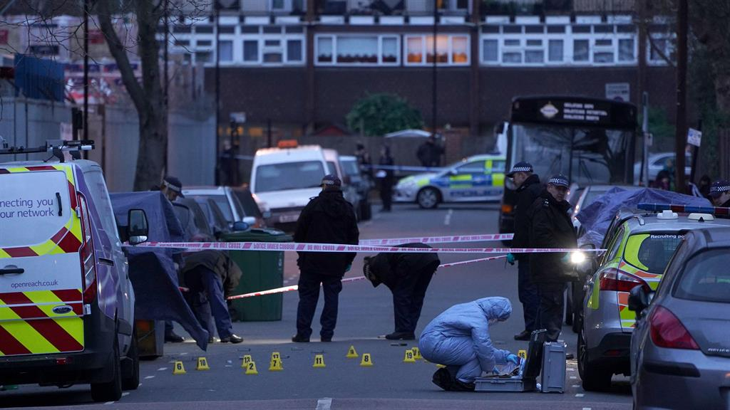 Stabbed to death: Police in east London where Jaden Moodie was killed PICTURE: GETTY