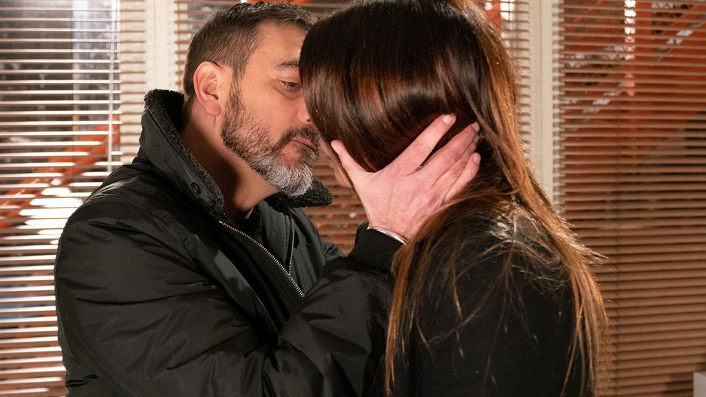 Pecking orders: Street characters Peter and Carla before the block on a snog
