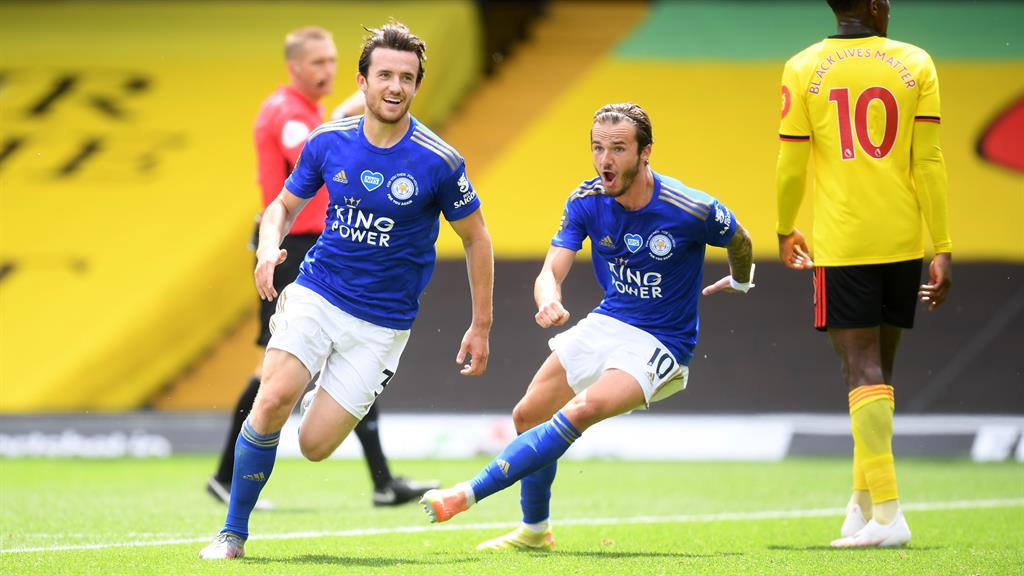 Fox trot: Maddison (right) celebrates with Chilwell PICTURE: REUTERS