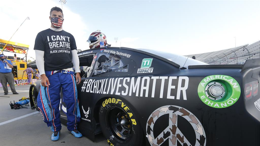 Taking a stand: Bubba Wallace shows his support for Black Lives Matter PICTURE: AP