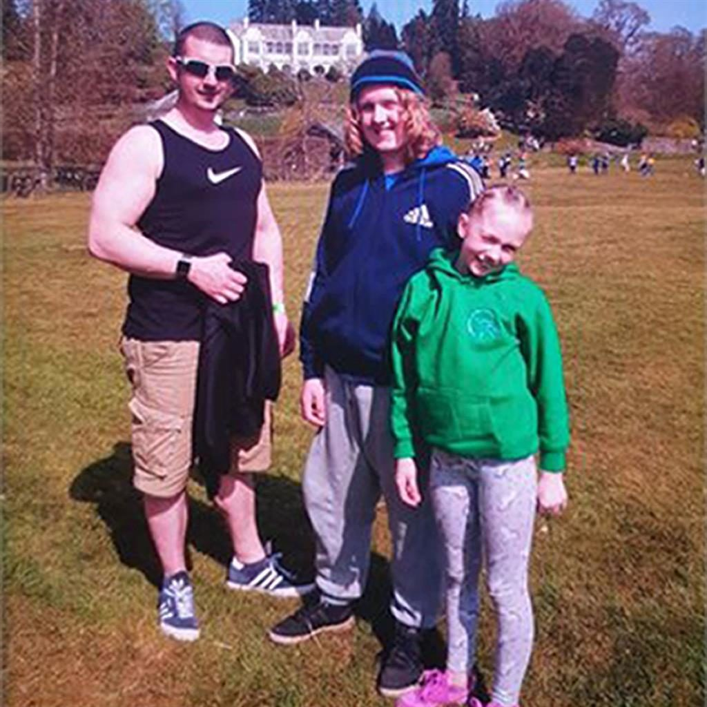 Tragedy: Joshua James Flynn with Coby-Jay and Skylar PICTURE: CUMBRIA POLICE/PA