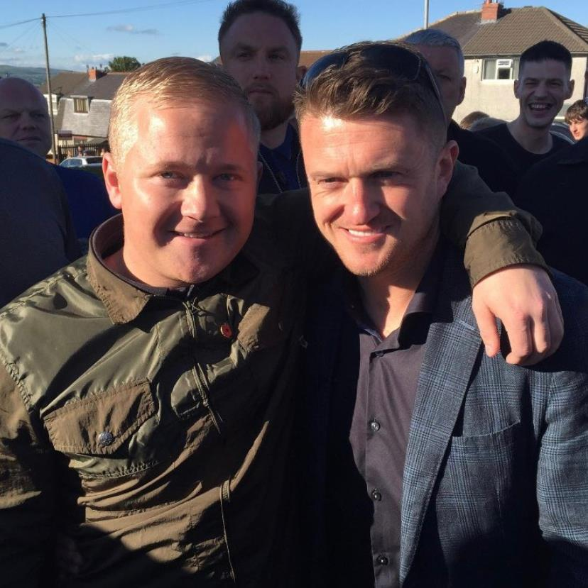 No apology: Jake Hepple (left), who paid pilot to fly banner, is a supporter of former EDL leader Tommy Robinson
