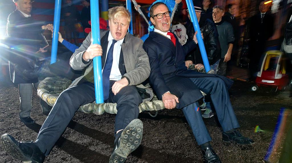 In the swing: Boris Johnson with former porn baron Richard Desmond in 2017 PICTURES: LNP/REX/GETTY