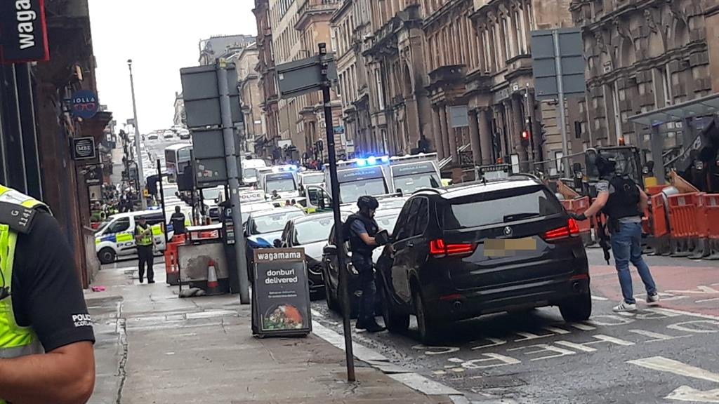 Scene: Closed roads in Glasgow city centre following the incident PICTURE: PA