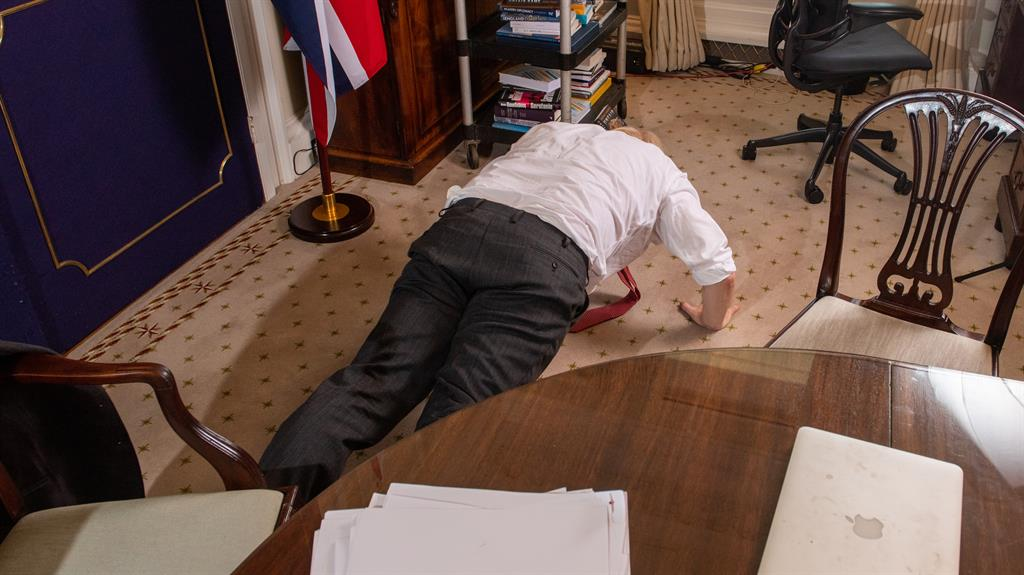 It's the prone minister: Boris Johnson shows off his fitness with press-ups for the press PICS: IAN MCLLGORM/MAILONSUNDAY