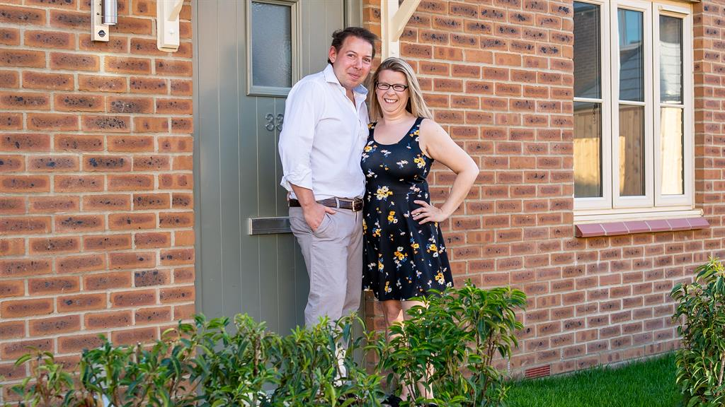 Signed, sealed, delivered: Peter and Sam outside their new Mulberry home