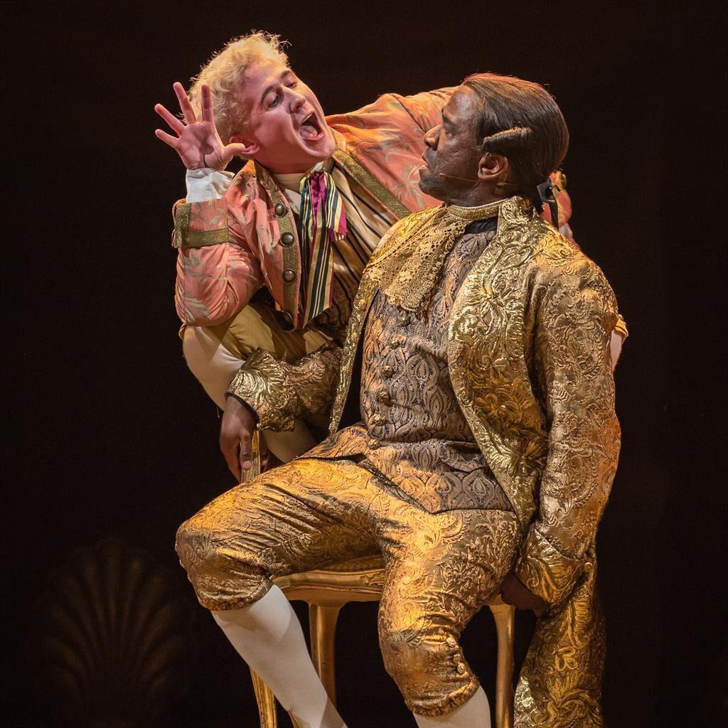 Mock me, Amadeus: Adam Gillen as Mozart and Lucian Msamati as tormented rival Salieri