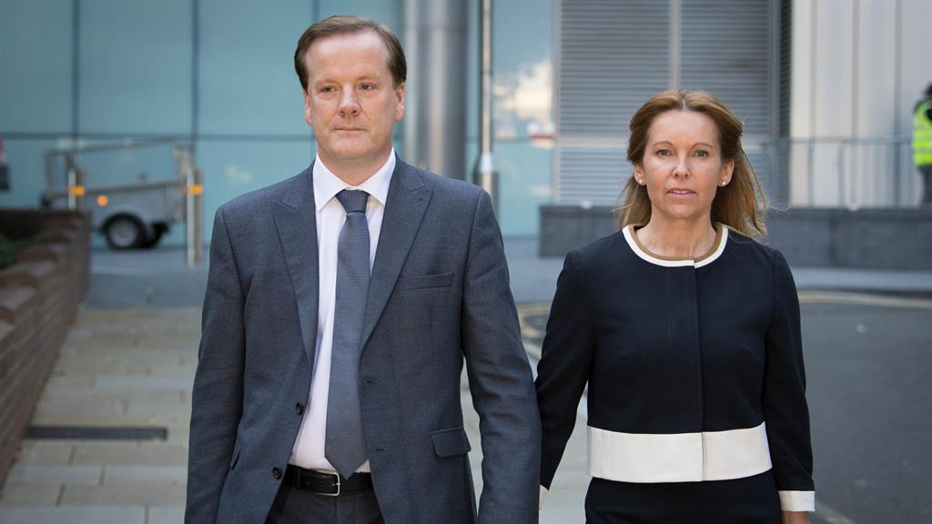 Crying shame: Charlie Elphicke arrives in court with his wife Natalie for his sexual assault trial PICTURE: PA