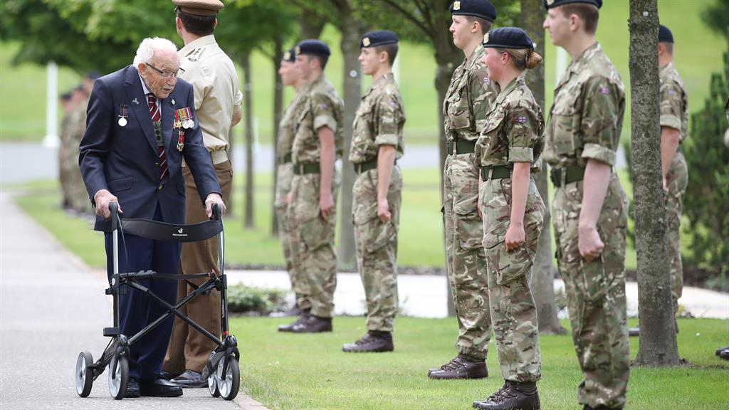 'Inspiration': The charity fundraiser stops to talk with cadets during visit PICTURES: PA