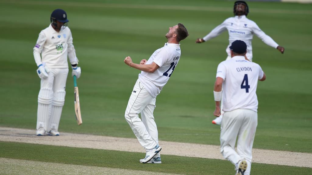 Ollie good: Robinson celebrates another wicket