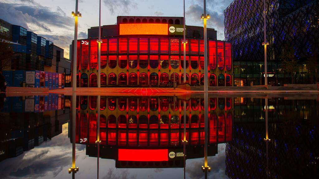Red alert: More than 1,000 venues across the UK will #LightItRed tomorrow to raise awareness for the estimated one million jobs at risk in the live events industry. Above, Birmingham Repertory Theatre