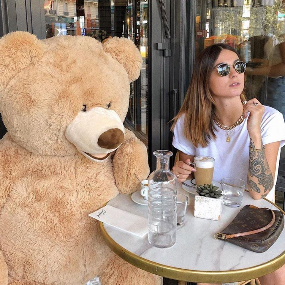 Furry companion: Cosy up for coffee with a giant teddy at Le Choupinet in Paris