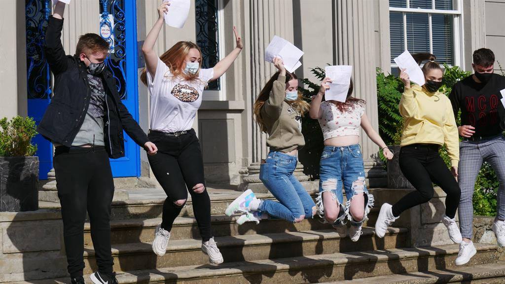Top marks: Students get their GCSE results at Hazelwood College in Belfast PICTURE: PA
