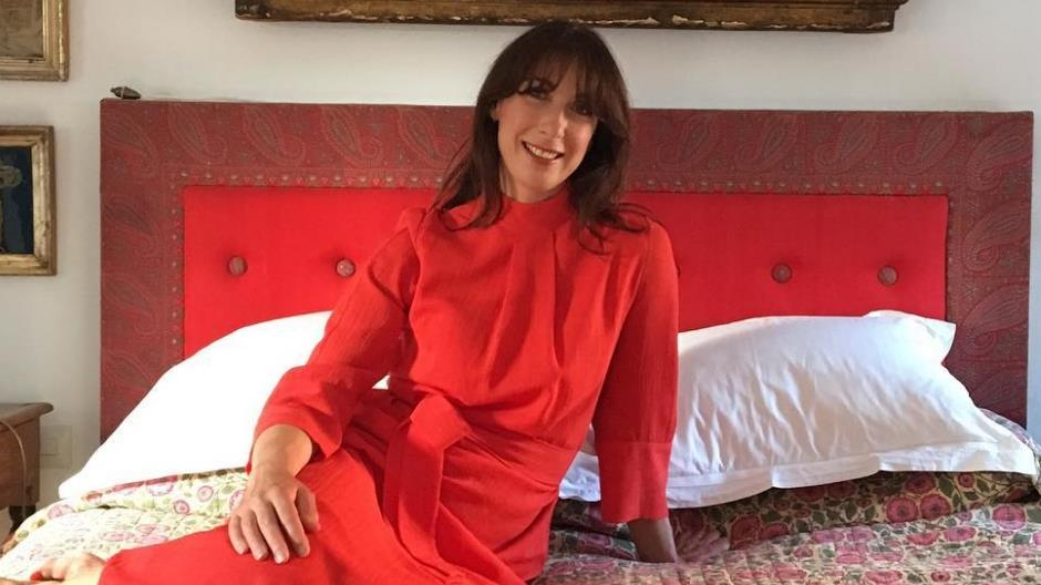 Holiday romance: Samantha Cameron today, and (below) showing off engagement ring with husband-to-be David in 1995 PICTURES: INSTAGRAM/REX.
