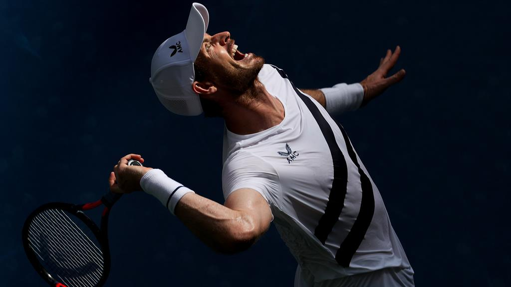 Back in business: Murray serves last night as he pushes himself to the limit at Flushing Meadows PICTURE: GETTY