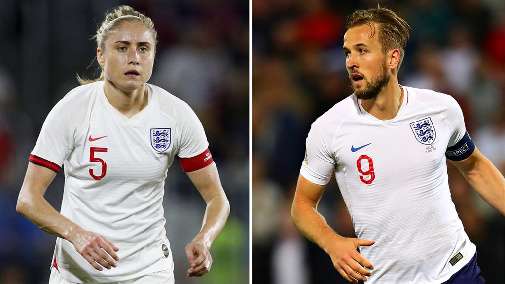 Parity: England captain Harry Kane and women's counterpart Steph Houghton receive the same match fee PICTURES: REX/GETTY