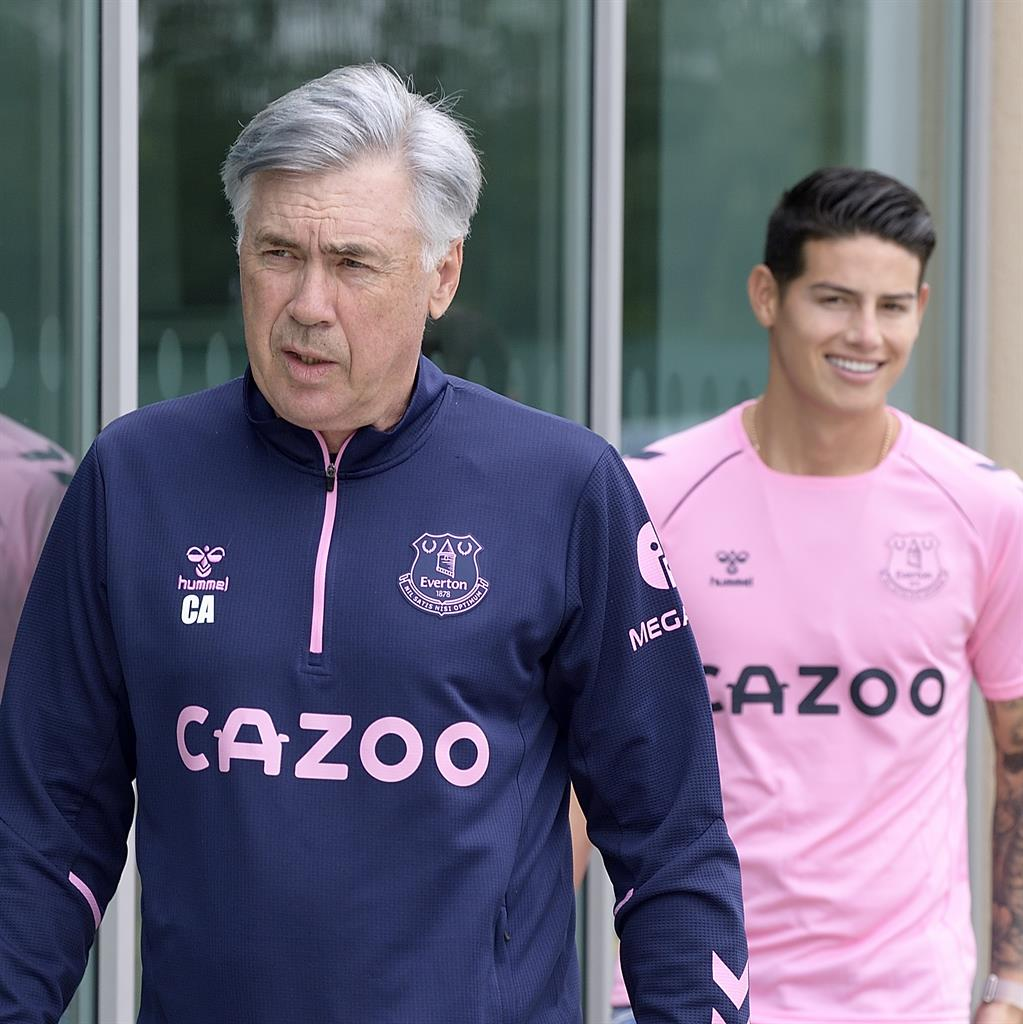 Reflected glory: Ancelotti and Rodriguez arrive for media duties yesterday PICTURE: GETTY