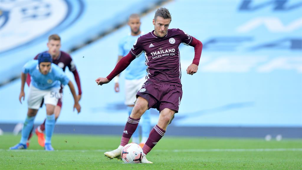 Foxes on fire: Vardy completes his hat-trick while Maddison (below) enjoys his wonder strike at the Etihad PICTURE: GETTY