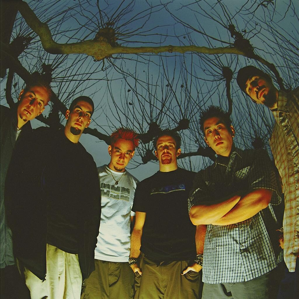 Back in the day: From left: Chester Bennington, Rob Bourdon, Mike Shinoda, Dave Farrell, Joe Hahn and Brad Delson in 2001