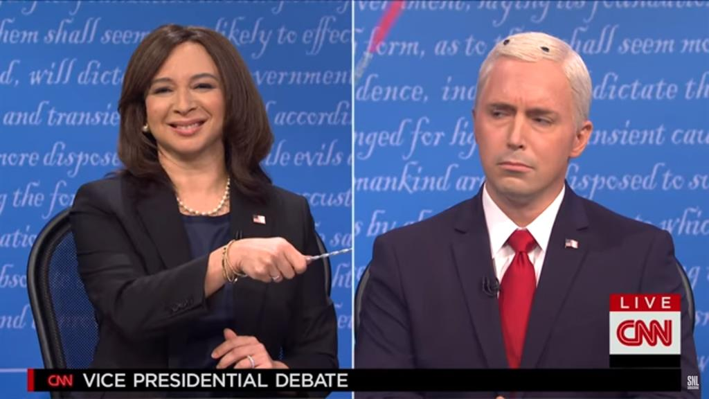 Lost for words: (from left) Maya Rudolph as Kamala Harris mocks Mike Pence, played by Beck Bennett PICTURES: SNL