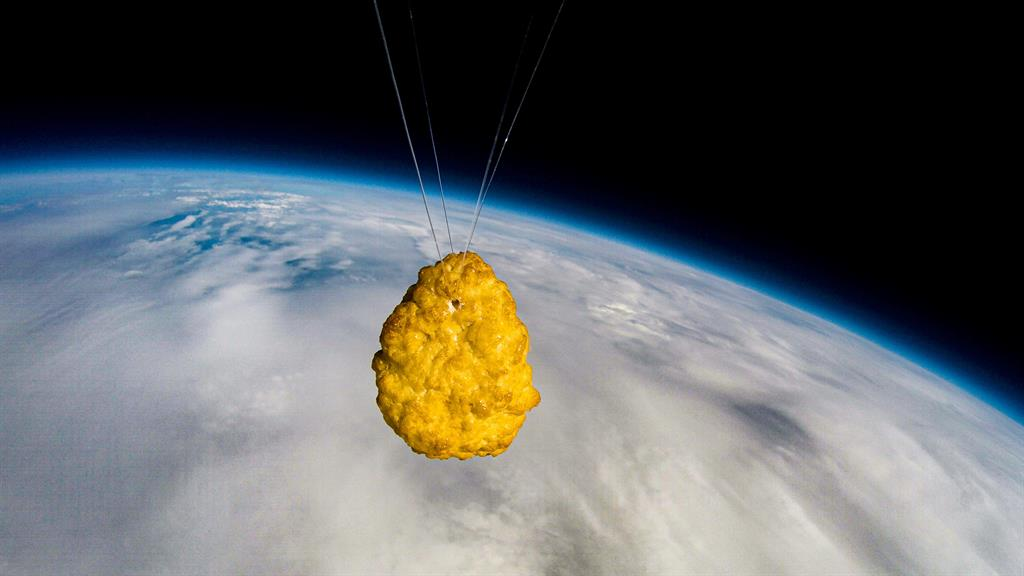Out of this world: The chicken nugget pictured in space