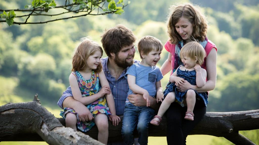 Parenting advice: Zoe Powell, her husband Joshua and three of their children PICTURE: HNP