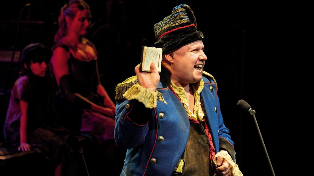 Star studded: Les Mis features the talents of Matt Lucas (above), Alfie Boe and Michael Ball