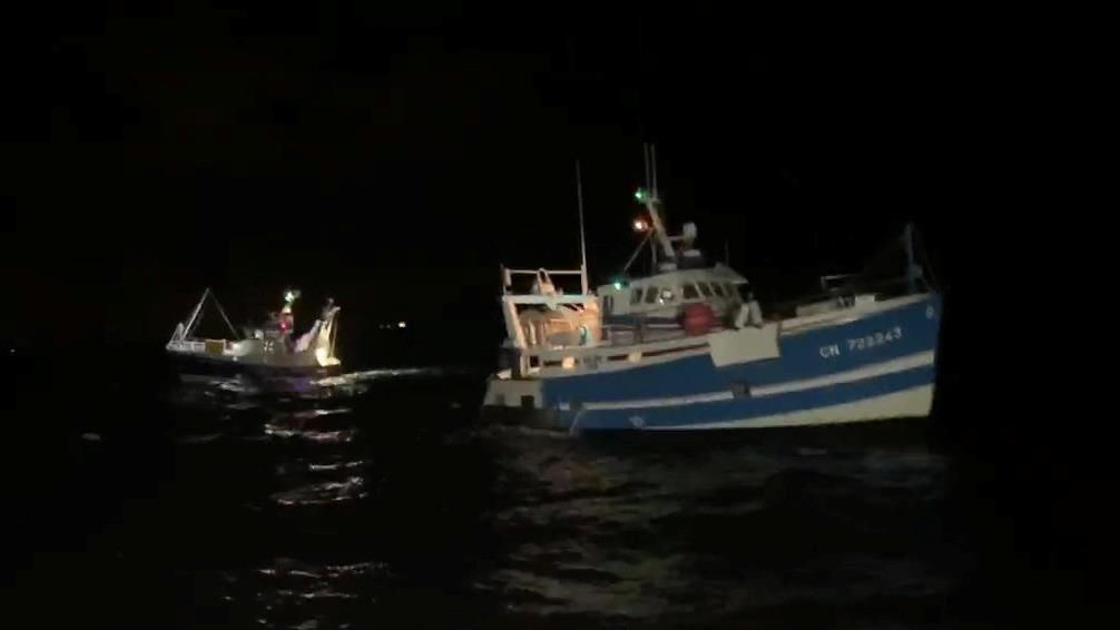 Shell shocker: These French trawlers were among 18 that attacked two British boats PICTURE: SWNS