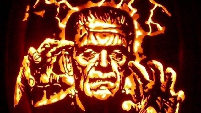 Frightening stuff: A Frankenstein pumpkin carving