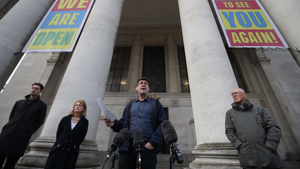 'One nation': Andy Burnham outside Manchester's Central Library yesterday PICTURE: PA