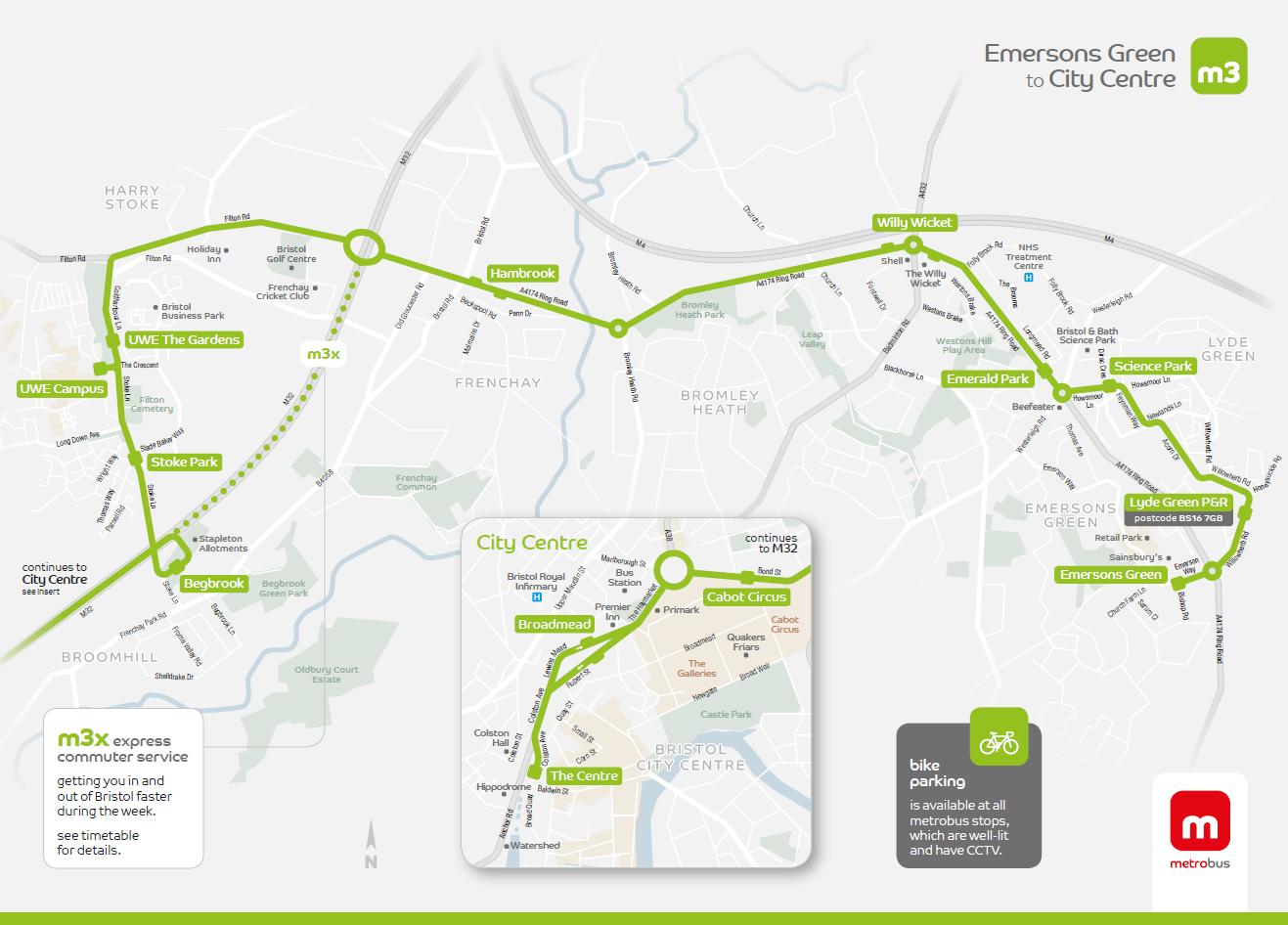 Map Of M3 m3 / m3x   metrobus Bristol