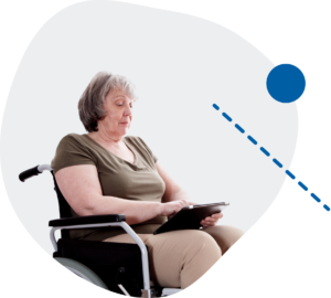 Wheelchair user using Surrey Virtual Wellbeing Hub