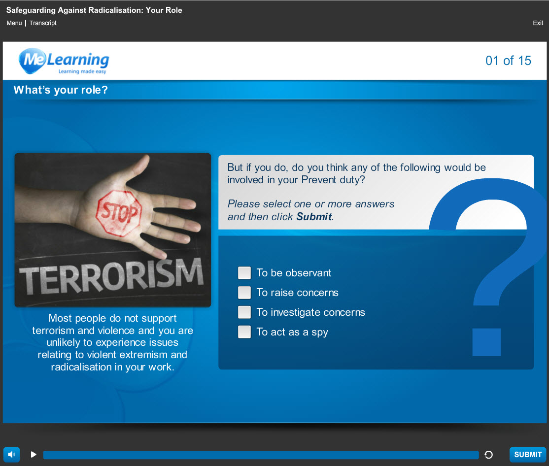 Safeguarding Against Radicalisation - The Prevent Duty Course Slide 1 of 15