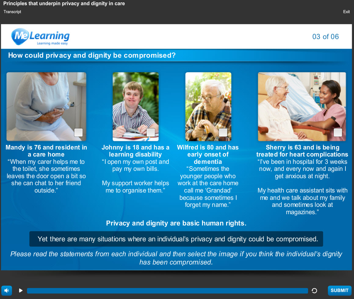 Privacy and Dignity - for Health and Social Care Course Slide 3 of 6