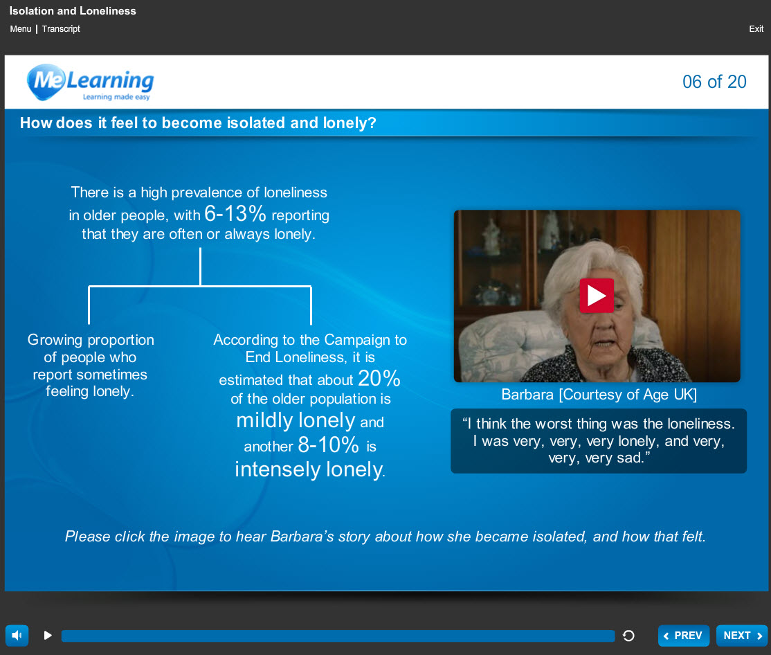 Making Every Contact Count - Loneliness and Isolation Course Slide 6 of 20