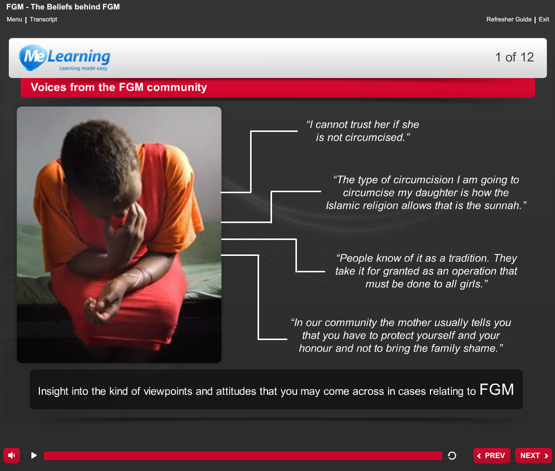 Female Genital Mutilation Course Slide 1 of 12