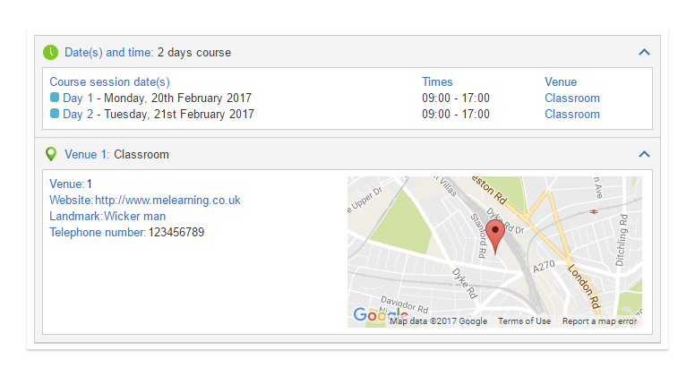 Venue and session details within Blue LMS' classroom booking module