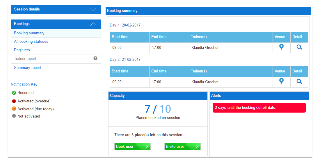 Blue LMS classroom booking summary screen