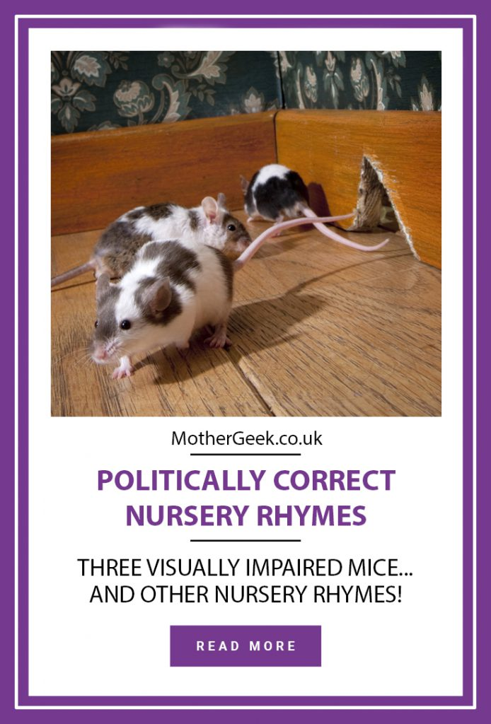 politically correct nursery rhymes - three visually impaired mice. (photo showing 3 mice)