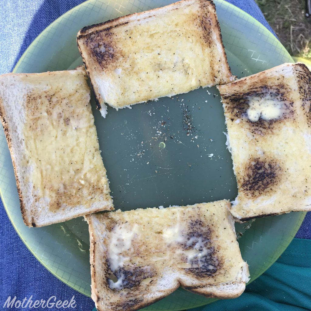 camping toast on a plate