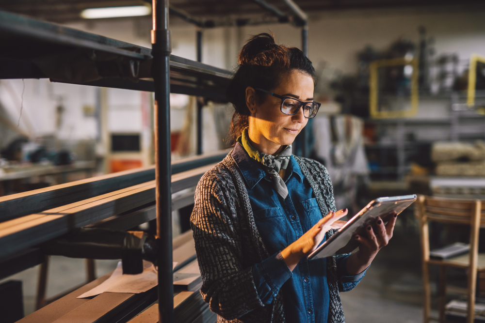 small business space - woman in a warehouse