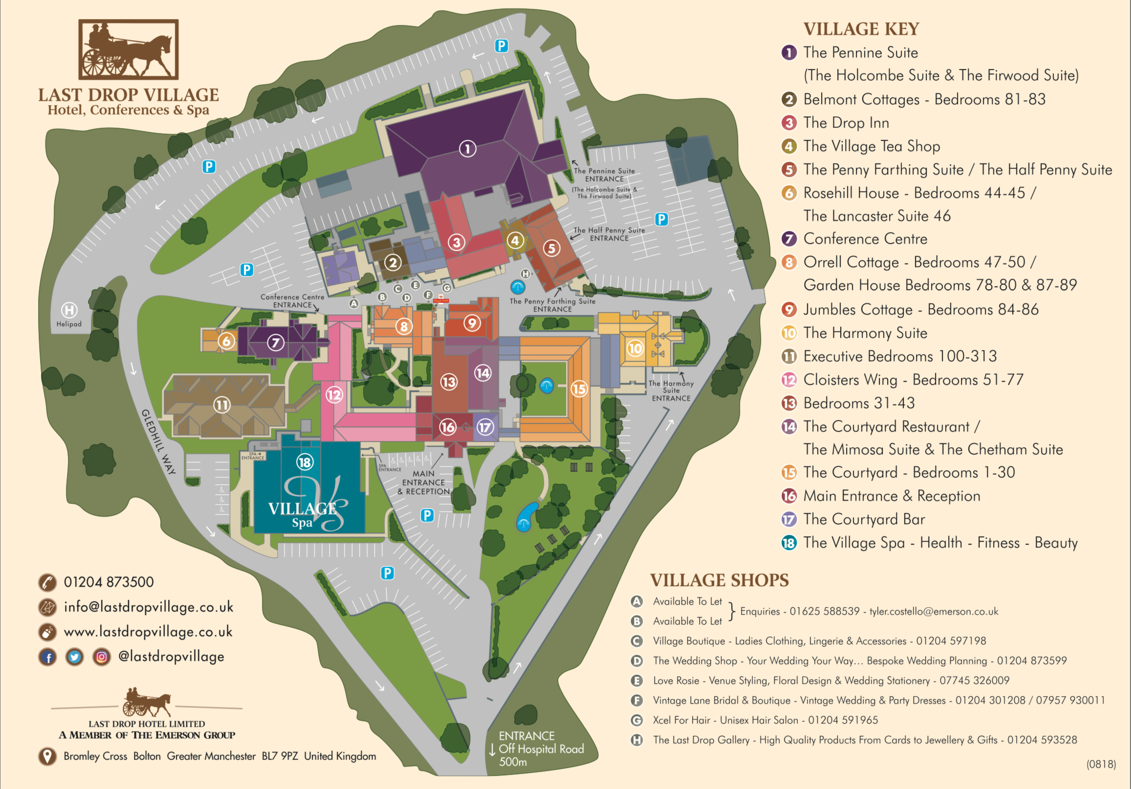 bargain spa break at Last Drop Village map
